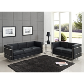Modern Dezignz | Leather Le Corbusier LC2 Loveseat and Sofa in Black ...