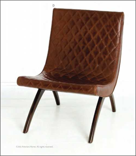 Danforth Quilted Top Grain/Wood Chair Chestnut Leather/ Mahogany