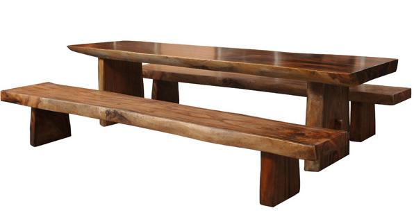 Modern Dezignz Natural Teak Table 2 Benches