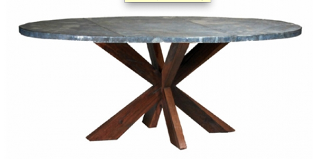 Old Wood Dining Table With Zinc Top